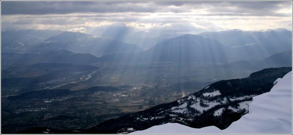 Vue en direction de la plaine et du Sud depuis les crètes de Lans en Vercors - 20 février 2010