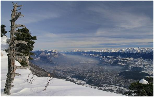 Chartreuse, Grenoble et Belledonne depuis les pistes de Lans en Vercors - 23 janvier 2010