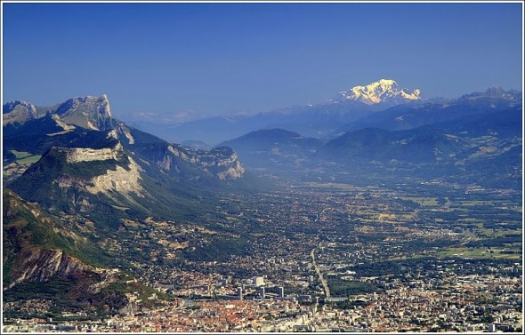 Chartreuse, Grenoble et le Mont Blanc depuis les crêtes de Lans en Vercors - 6 août 2009