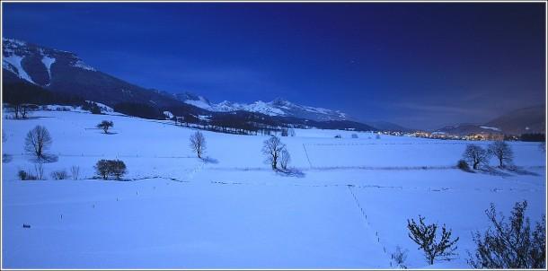 Pleine lune sur le plateau du Vercors - soirée du 29 octobre 2012