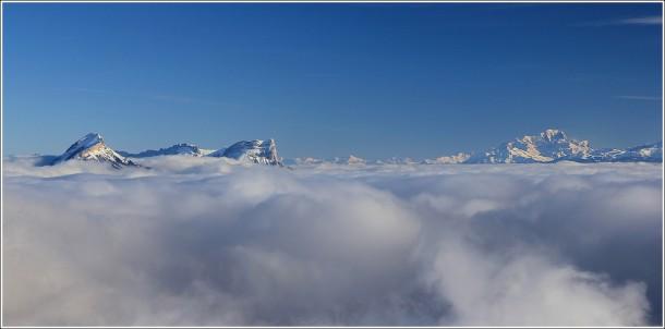 Chartreuse, Mont Blanc et mer de nuages depuis Lans en Vercors - 5 janvier 2013