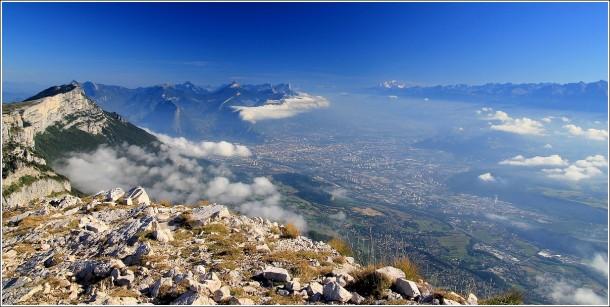 Grenoble, Chartreuse, Mont Blanc et Belledonne depuis le Vercors - Pis St Michel
