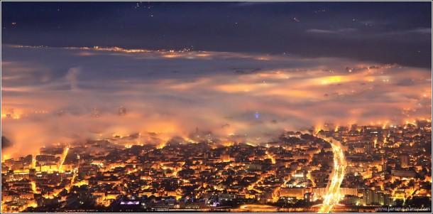 Grenoble partiellement sous la brume - 7 novembre 2013