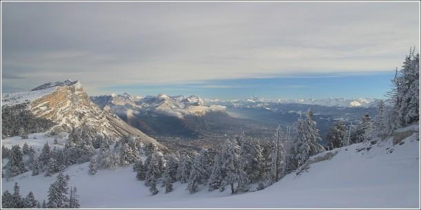 Chartreuse, Mont Blanc, Belledonne et Grenoble depuis les pistes de Lans en Vercors - 27 decembre 2013